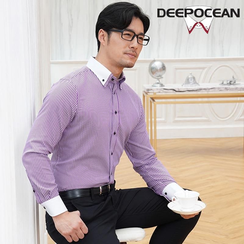 Coton hommes chemises couleur bonbon mode hommes chemise d'affaires longue tenue décontractée chemise rayée Camisa De Hombre chemise X25507LP