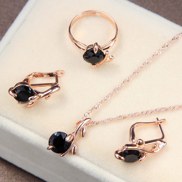High Quality Black CZ Crystal Wedding Necklace &Earring &Ring 3 Set Gold Color P
