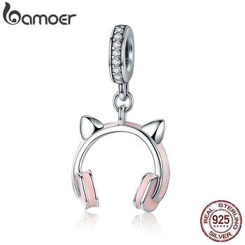 BAMOER, nueva llegada, Plata de Ley 925, auriculares de oreja de gato, colgante, pulsera de encanto para mujer, joyería de cuentas DIY SCC441
