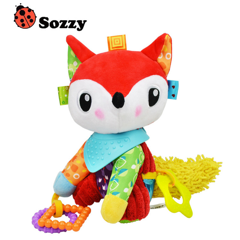 Sozzy Cute Baby Musical Mobile Crid Bed Toys Newborn Fox Plush Stuffed Rattles Stroller For Baby Toys 0-12 Months The Bed Bell