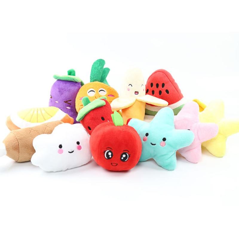 Новая игрушка собак, кошек, Squeaker скрипучий плюшевые звук фрукты овощи Кормления Собаки игрушки морковь Banana 14 Дизайн