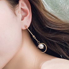 Imixlot Brand Simple Style Semi-Circular Simulated Pearl Dangle Earrings For Women Long Jewelry Gift