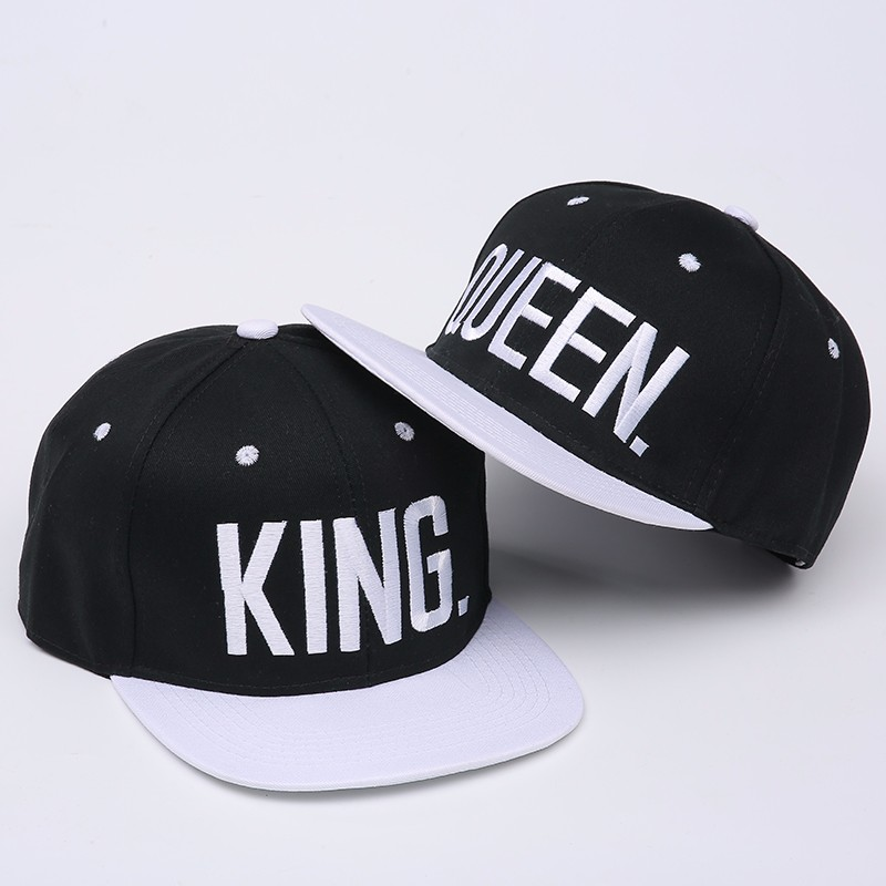 "Embroidered ""King and Queen"" Snapback Cap Set - Black Cap with White Embroidery and White Brim"
