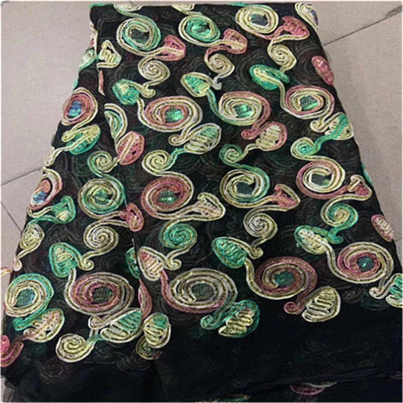 В нигерийском стиле кружево ткань s в бусины платье материал блестка камни 2019 Высокое качество Африканский 3D цветок сетки