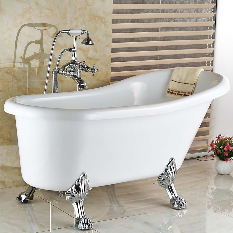 Luxury Bath Clawfoot Freestanding Tub Shower Filler Faucet Chrome ...