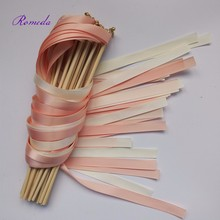 50 шт./лот коралловый и Шампанское Свадебное палочки вертя растяжки свадебные ленты палки для свадебного украшения