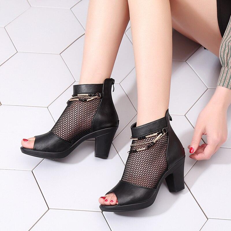 De Eye Black En Bouche Carré Air Poissons Mesh L'ue Nouveau attrapé Style Chaussures 2018 Cuir Sandales Lady Talon Sexy FUngaIq