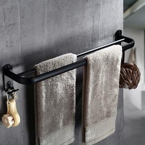 Image 4 - Bathroom 50cm double Bar Black Towel Rack Wall mounted Black Toilet Space Aluminum Towel Bar with Hook Bathroom Accessories
