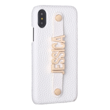 Holding Strap Metal Personalisation Your Name Pebble Grain Leather Phone Case Cover For iPhone 6 6S XS Max XR 7 7Plus 8 8Plus X