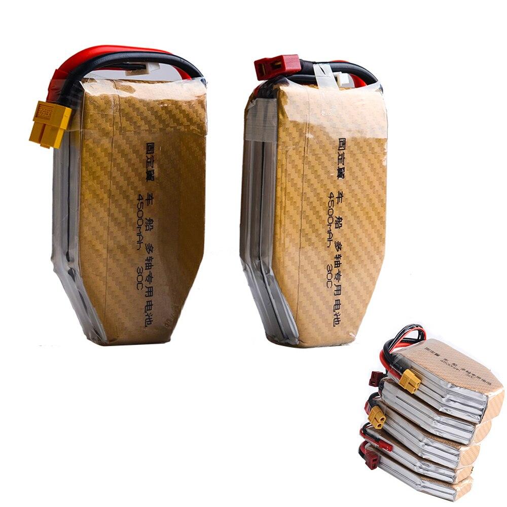 1 unids alta capacidad de la batería Lipo 7.4 V 11.1 V 14.8 V 22.2 V 4500 mAh 30C T plug para RC quadcopter drones RC del barco del coche del aeroplano
