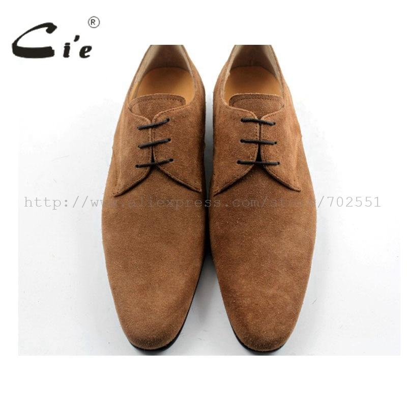 Cie/ ; Мужские модельные туфли с круглым носком ручной работы из натуральной телячьей кожи; классические туфли дерби коричневого цвета; замшевые туфли с плоским носком; D50