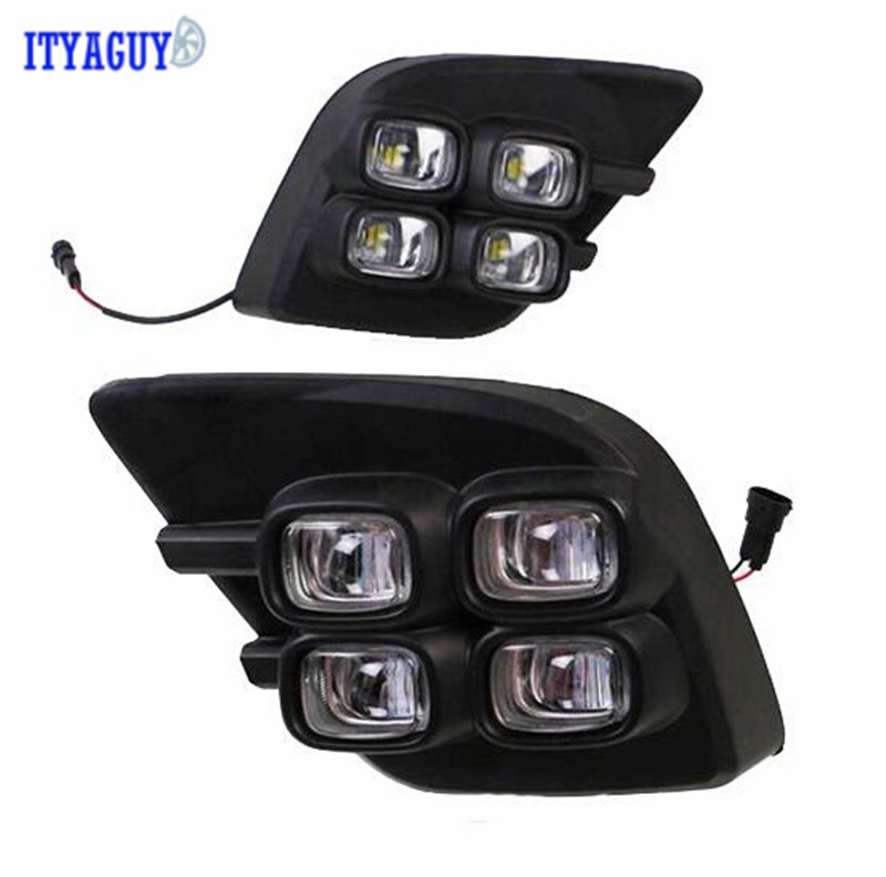 Car Stlying 12V LED Daytime Running Light DRL Fog Lamp Decoration For Toyota VIGO 2015 2016 2017 2PCS car stlying 12v led daytime running light drl fog lamp decoration for peugeot 508 2012 2013 2014 2015 2016 2pcs