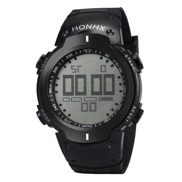 Fashion Waterproof Men Boy LCD Digital Stopwatch Date Silicone Rubber Strap Mili