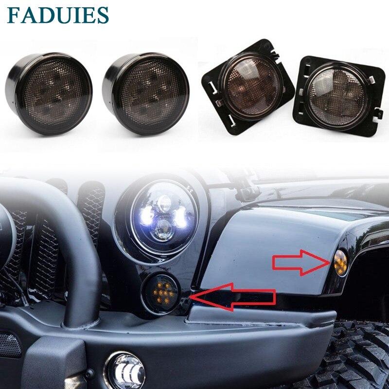 FADUIES водить желтого света передних арок боковые Габаритные свет сигнала поворота светодиодные боковые габаритный фонарь для Jeep Вранглер JK 2007~2015