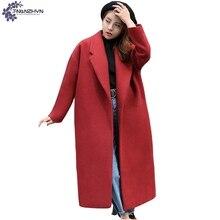 TNLNZHYN Women clothing Winter warm Woolen cloth coat New Fashion Loose Big yards high-end long Ladies Woolen Outerwear QQ628