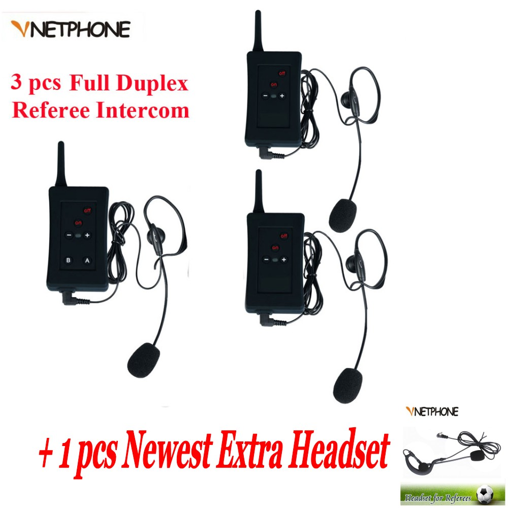 3 pcs Brand Football Soccer Referee Intercom Motorcycle Intercom Full Duplex Bluetooth Referee Headset + 1 pcs extra headset