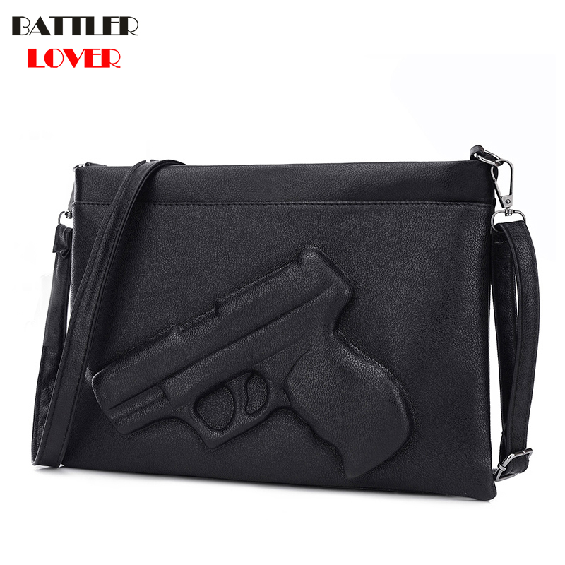 3D Solid Gun Handbag Women's Messenger Bag Crossbody Envelope Vintage Purses PU Leather Pistol Clutch Bag Shoulder Bag Funny