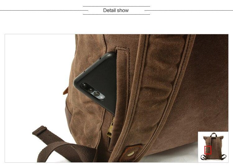 secret pocket Canvas & Leather Vintage Backpack