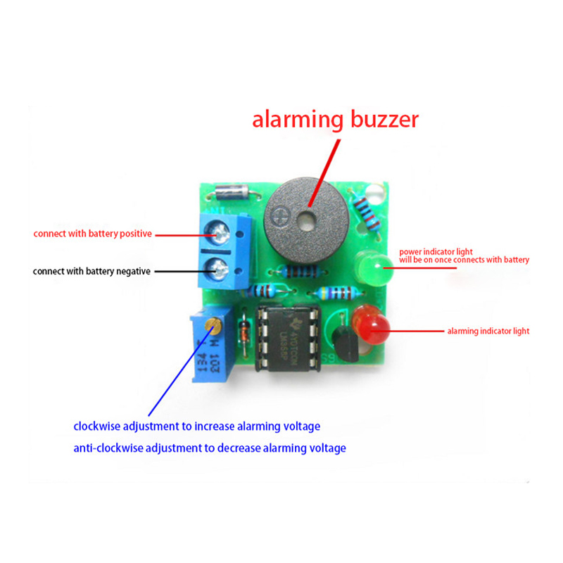 Low Voltage Alarm Buzzer Under Voltage Protection Module 12V On-Board Battery