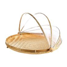 Hand-woven Insect Proof Pest Control Basket Dustproof Sun Handmade Bread Fruit Cover Picnic With Gauze Kichen Tool