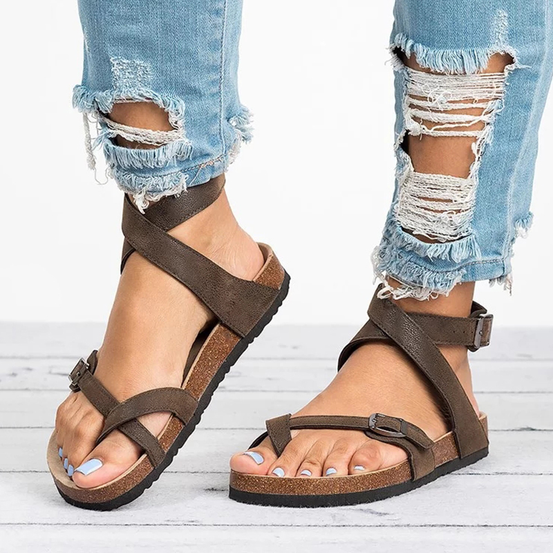 Basic Women Sandals 2019 New Women Summer Sandals Plus Size 43 Leather Flat Sandals Female Flip Flop Casual Beach Shoes Ladies(China)