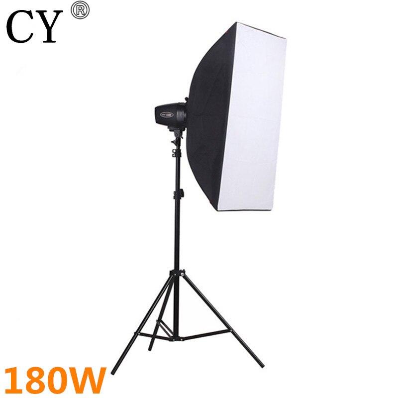 CY Photography Soft Box Flash Lighting Kits 180W Storbe+Stand+Softbox+Universal Mount Photo Studio Accessories Godox K-180A