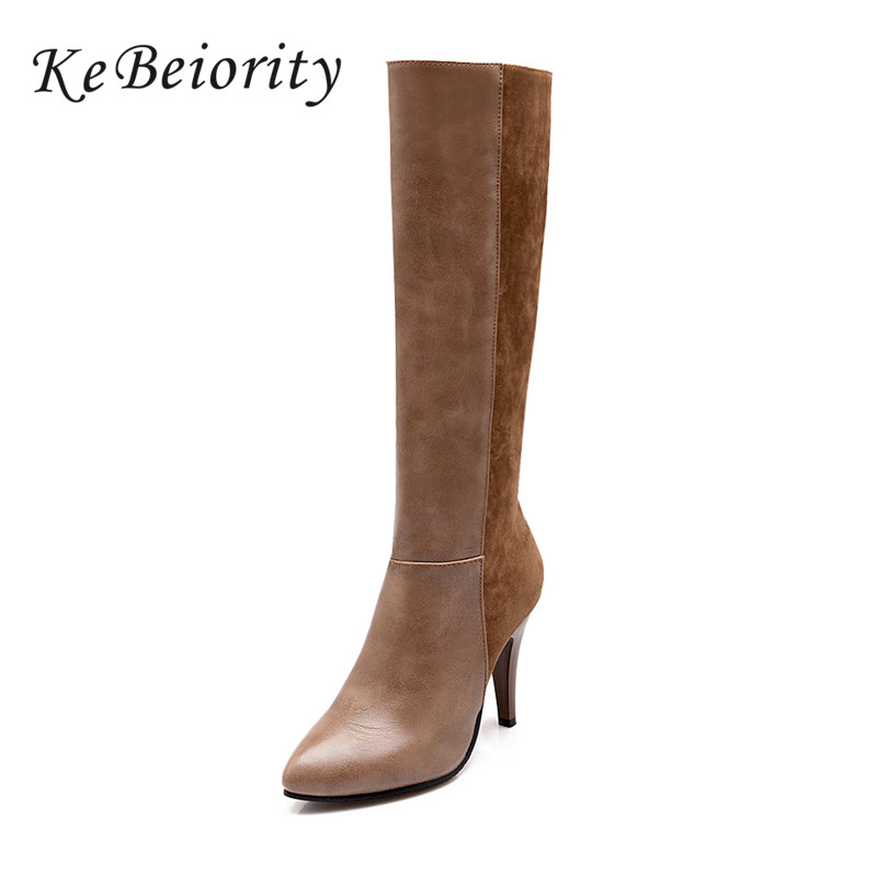 KEBEIORITY Boots Knee High Pointed Toe Women Boots Autumn Winter Zipper Boots Fashion High Heels Ladies Shoes Brown Black Boots meotina winter women knee high boots snow boots fur motorcycle boots pointed toe high heels shoes zipper black brown size 10 43