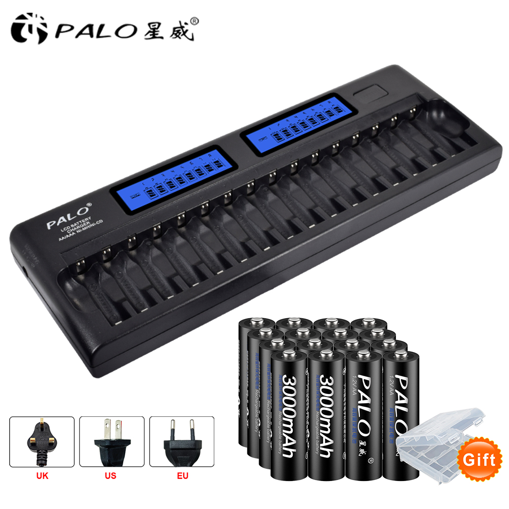 Battery Charger 16 slots LCD Smart Battery Charger For AA AAA Ni-MH Ni-Cd 1.2V 16 bay Batteries 16 Bank+AA Rechargeab Batteries bty 1000 mini 1 2v aa aaa battery charger with 2 aaa 400mah ni mh batteries kit