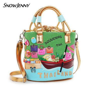 Women Shoulder Bags Canvas Patchwork Embroidery Messenger Bag Handbags Totes Braccialini Style Art Cartoon Thailand Scenery