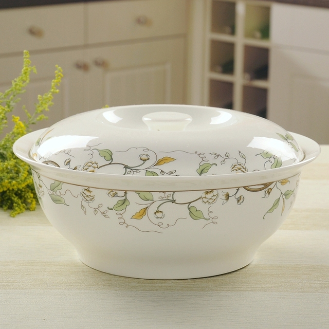 1 piece Authentic lead-free bone porcelain tableware/ Ceramics large soup bowl with lace : lead free dinnerware - pezcame.com