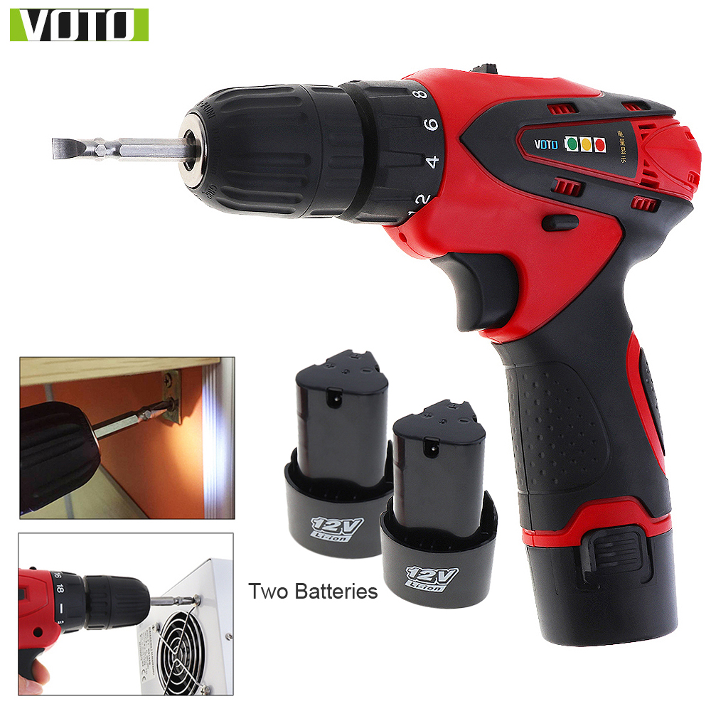 VOTO AC 100 - 240V Cordless 12V Electric Drill /Screwdriver with 2 Lithium Batteries and Two-speed Adjustment Button