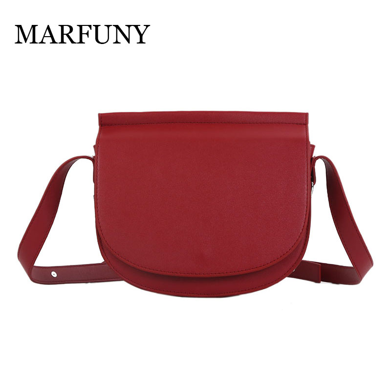 1e0f7e705e MARFUNY Solid High Quality Pu Leather Chain Women Shoulder Bag Fashion  Simple Design Saddle Bag Vintage Messenger Bag Red Wine-in Shoulder Bags  from Luggage ...