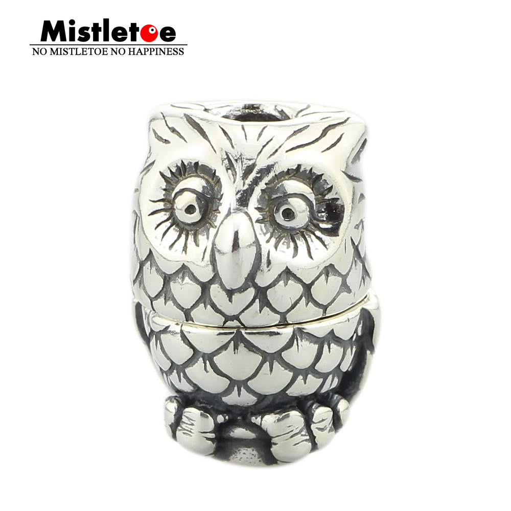 Genuine 925 Sterling Silver Night Owl Pendant Charm Bead Fits European 3.0mm Necklace Jewelry ...