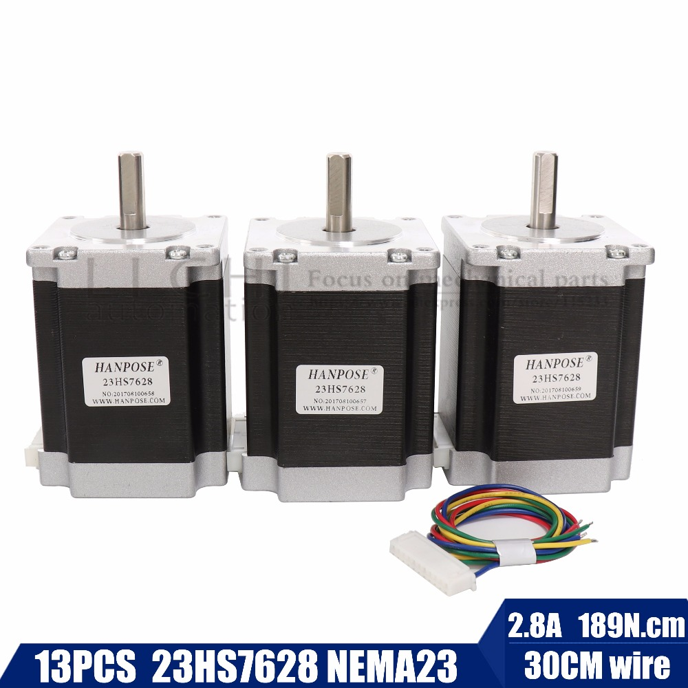 Free shipping 3pcs 23hs7628 Stepper Motor 3pcs Nema 23 270 oz.in=1.9NM single shaft 3A 23HS8430 Medical Industrial Automation