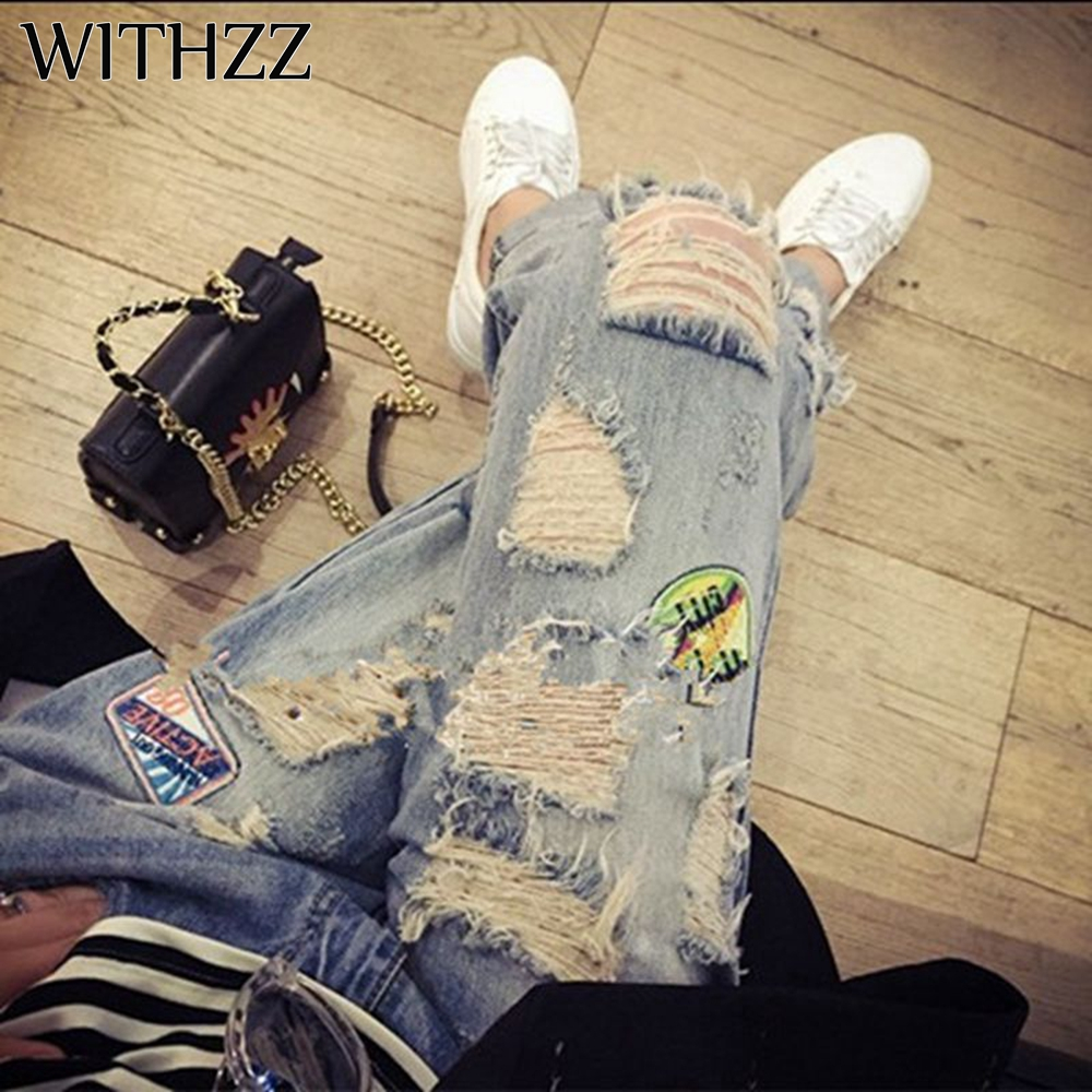 WITHZZ Ripped Jeans IG Recommended Women's Jeans Women Pants Overalls Vintage Female Torn Trousers  Plus Size Pencil Pants