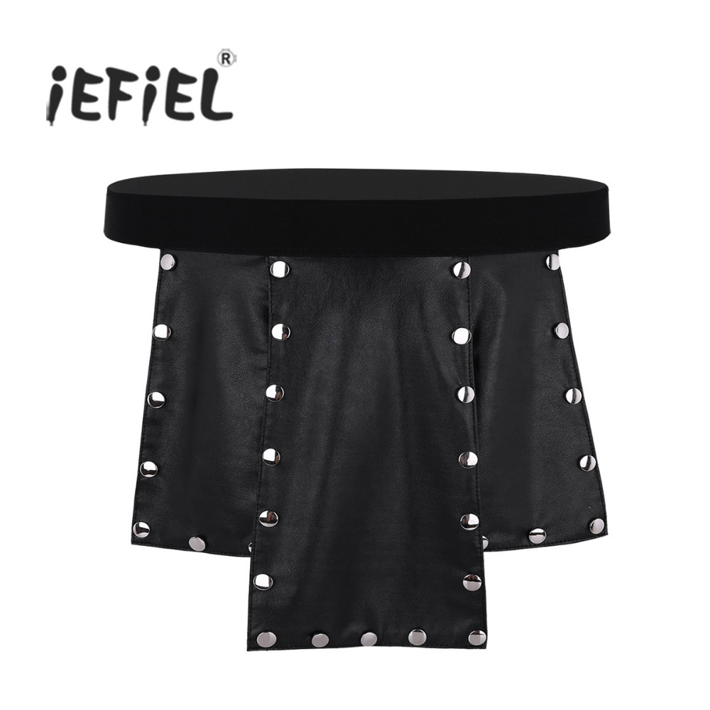 Mens Novelty Soft 6 Panel Faux Leather Low Rise Metal Studded Kilt Briefs Lingerie Gay Underwear Skirt for Costumes