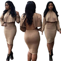 Women Two Piece Outfits Cotton Dress Sexy Backless Winter Bandage Dress Cloak Back Hollow Out Night Club Bodycon Party Dresses