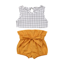 Summer Newborn Girls Clothes Sleeveless Plaid Vest Crop Tops Shorts Baby Outfits New Born Set Baby Girl Sets Toddler Clothing newborn baby girl clothes sleeveless tops shorts 2pcs outfits set 0 18m girls rompers clothing