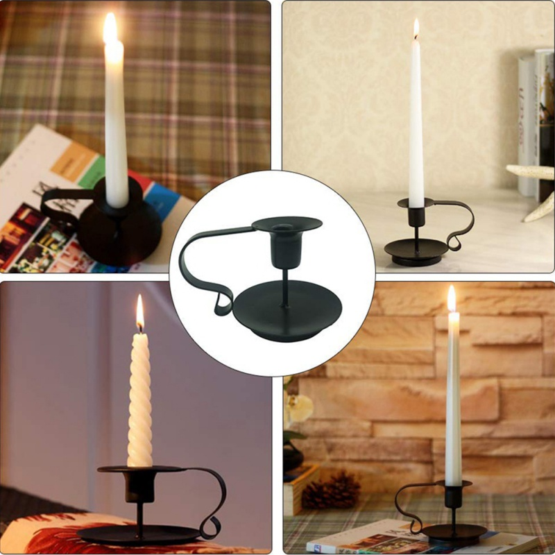 Retro Iron Taper Candle Holder Candlestick Stand Candlelight Dinner Decor