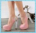 Meninas vestido bombas rosa sapatos de salto alto sexy sapatos de cristal sapatos bombas das mulheres saltos da fêmea do partido das senhoras sapatos de casamento mulher C809