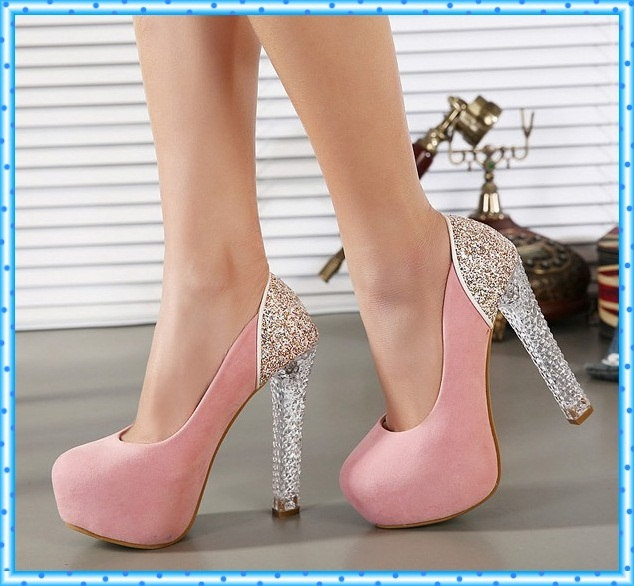 girls dress pumps pink shoes sexy high heels shoes crystal shoes pumps women heels female party ladies wedding shoes woman C809