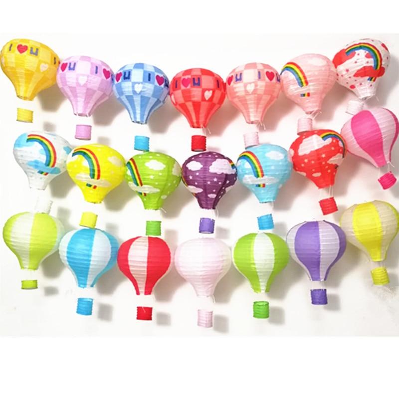 Sundlight 10Pcs//Set Rainbow Foldable Hot Air Balloon Paper Lantern Birthday Party Wedding Decoration 12