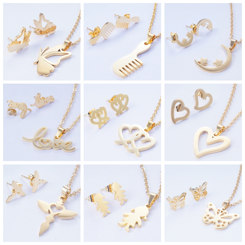 Yunkingdom Jewelry-Sets Necklaces Stainless-Steel Stud-Earrings-Set Small Fashion Titanium
