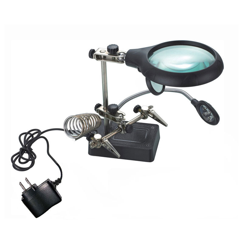 Magnifier Desk Lamp Clamp Loupe Magnifying Glasses with 5 LED Light Adjustment