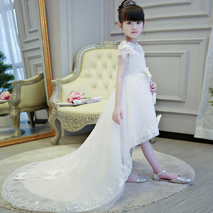 Image 4 - 2019 Hot sales Girls Kids First Communion Prince Lace Dresses Sleeveless Ball Gown Court Train Girl Birthday Wedding Dresses