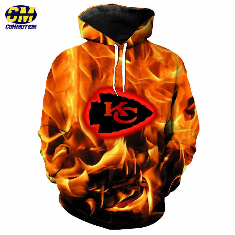 3227f38ea Fashion Kansas City Chiefs 3d Flame Hoodie Cool hip hop streetwear  sweatshirt Dropshipping and Wholesale EU