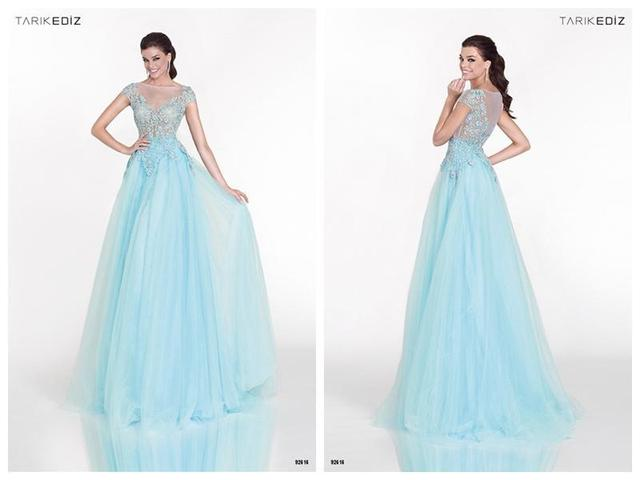 2015 New Style Light Blue Long Dress Tulle Prom Dresses Lace Beaded ...