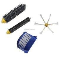 Aero Vac Filter Bristle Brush Flexible Beater Brush 6 Armed Side Brush Pack For IRobot Roomba