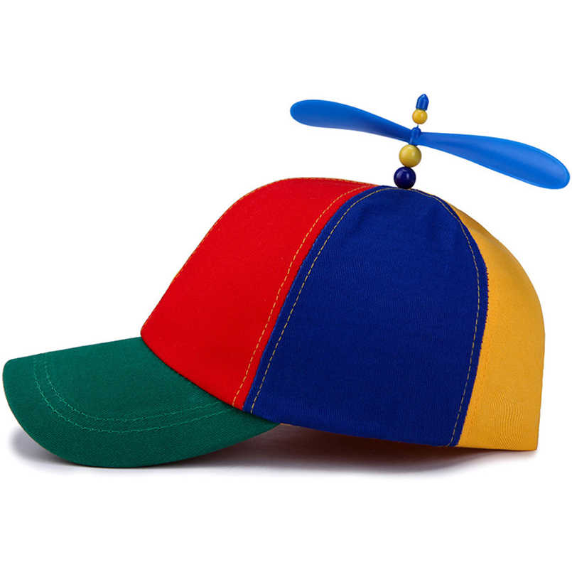 EAGLEBORN Verão Adulto Criança Ajustável Boné de Beisebol Bola Hélice Libélula Top Multi-Cor Patchwork Encantador Engraçado 52-57 cm