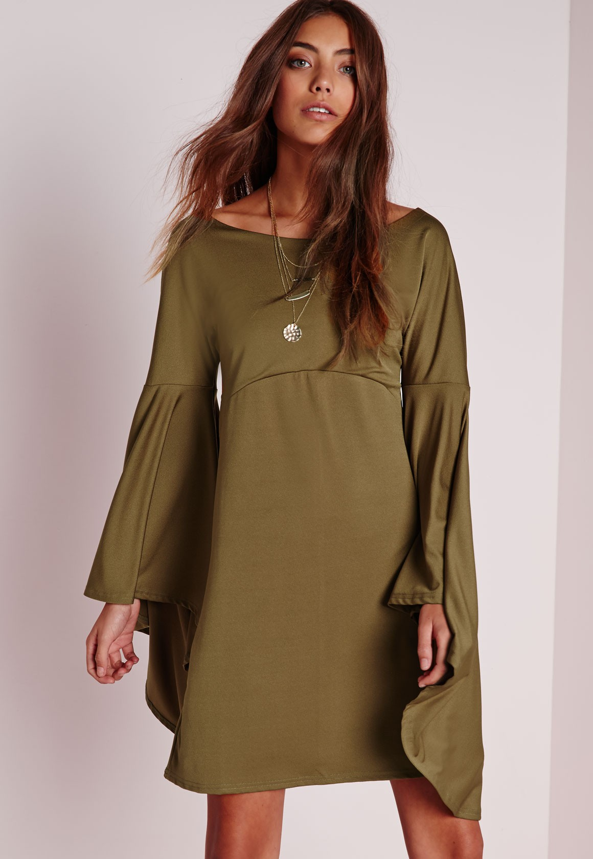 26d18864291d PREMIUM Olive Flared Oversize BELL SLEEVE Tunic Shift Hippie Loose ...